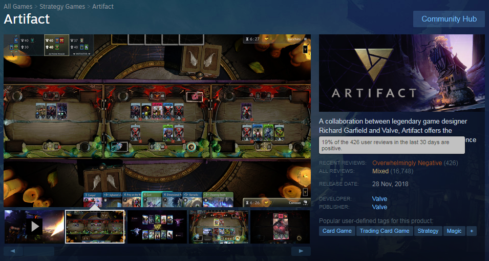 Click image for larger version  Name:Artifact - Steam store page, 15 Mar 2019.png Views:6 Size:728.1 KB ID:259340