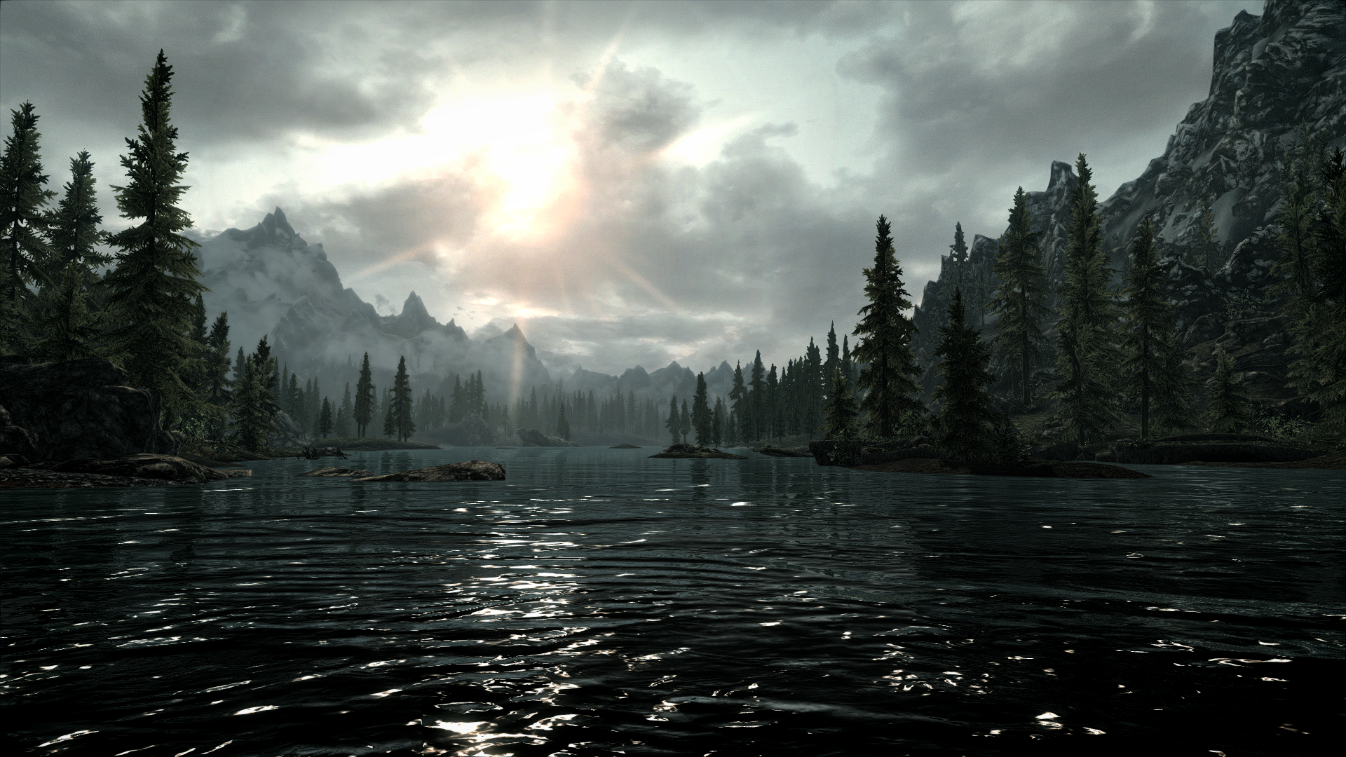 Skyrim sunset on a lake.