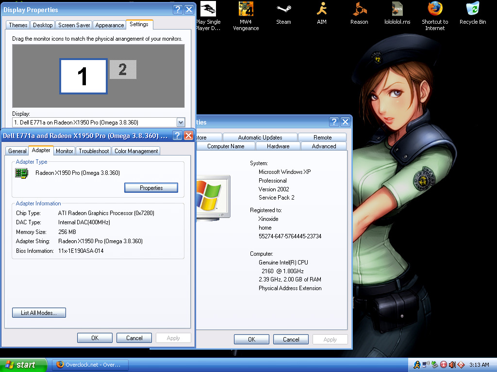 screenie of my desktop displaying some info, thats Jill Valentine from resident Evil. im also going to wait until after my next upgrades to take some pictures of the inside of my system. that way ill actually have something to be proud of.