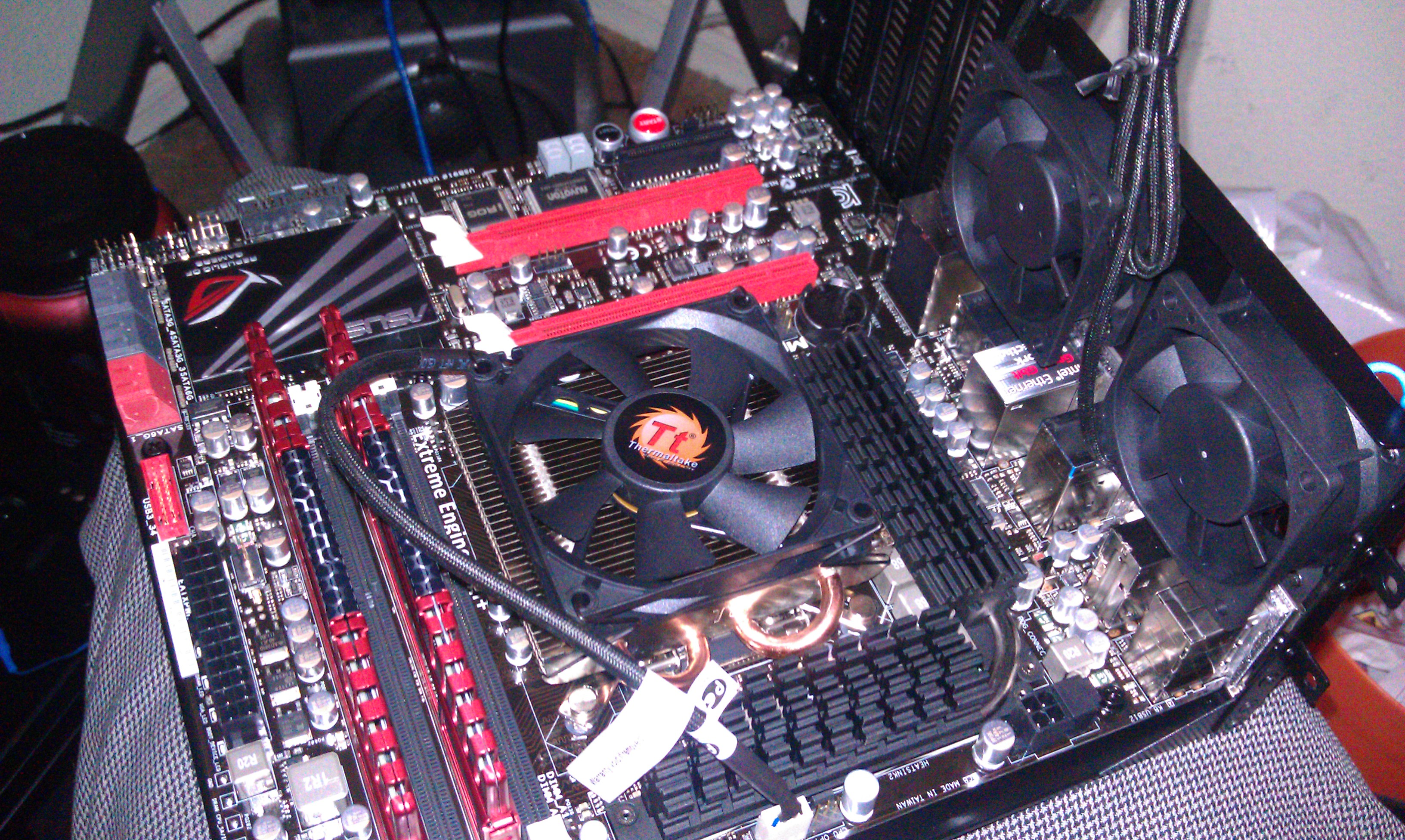on the mobo tray