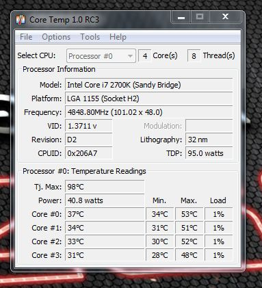 realtemp.JPG  This is a shot of my i7 2700k Oc'd to 4.9Ghz and my 24/7 setup.  I use an H100 for cooling set on balanced.  Once again I am going to have to reseat the block as I think the difference between core 0 and core 3 it too vast a gap in degrees for it to be working correctly although my temps never go over 70c on any core.