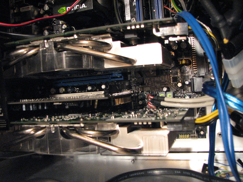 Note the two PCI-E power dongles come from the ThermalTake 250W GPU PSU.