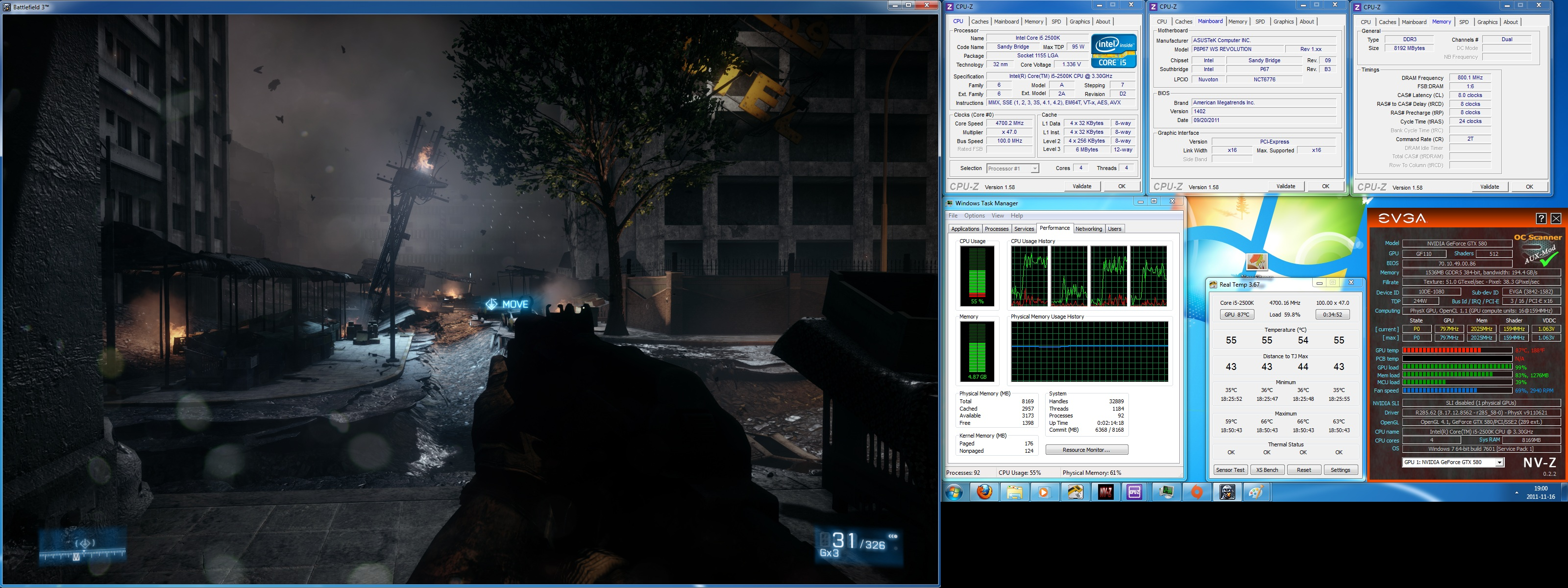 BF3 temperatures at load in windowed mode with older and hotter OC profile.