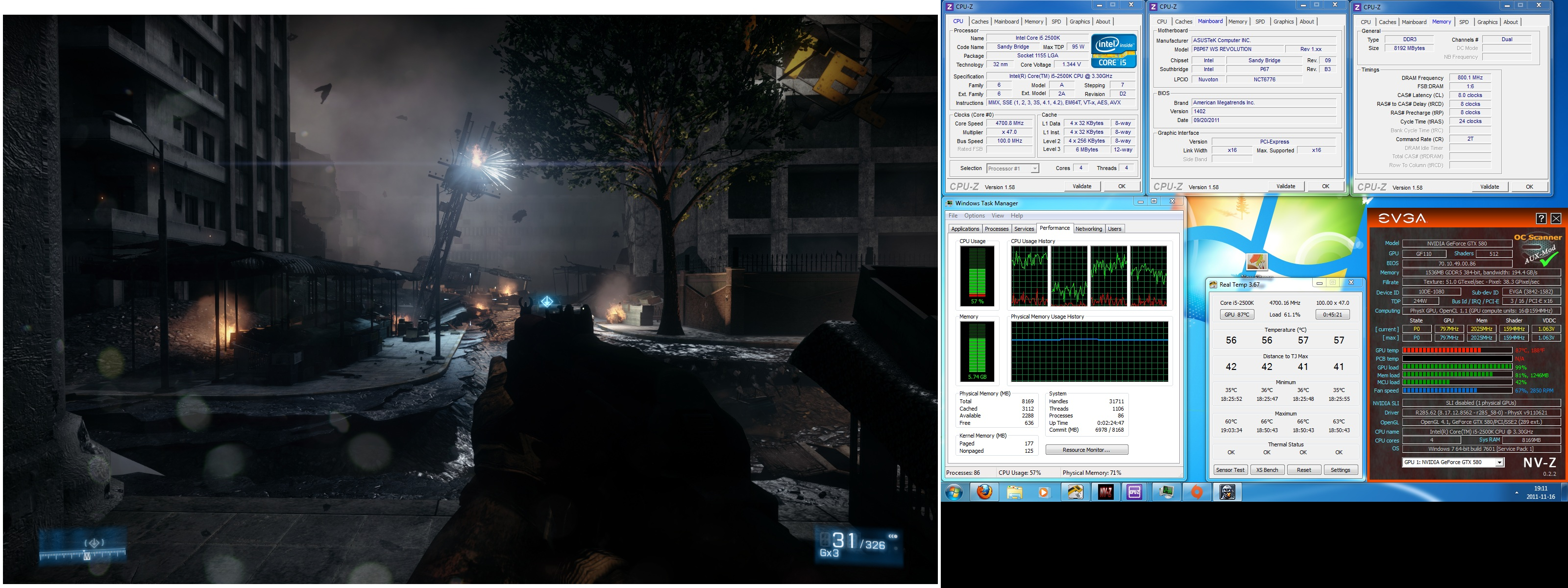 BF3 temperatures at load in full screen mode with older and hotter OC profile.