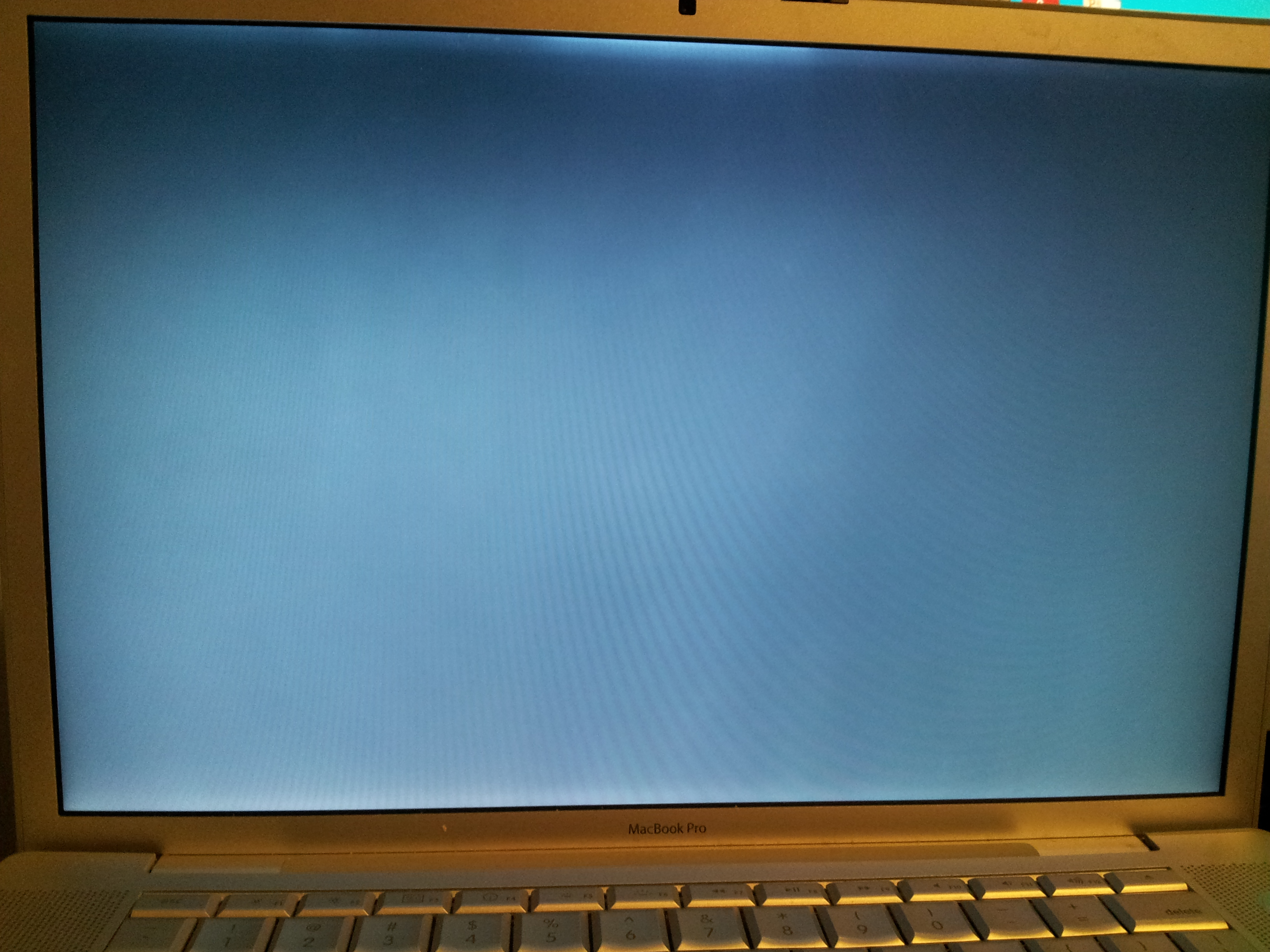 The screen when its booting up - its basically just uniform blue.