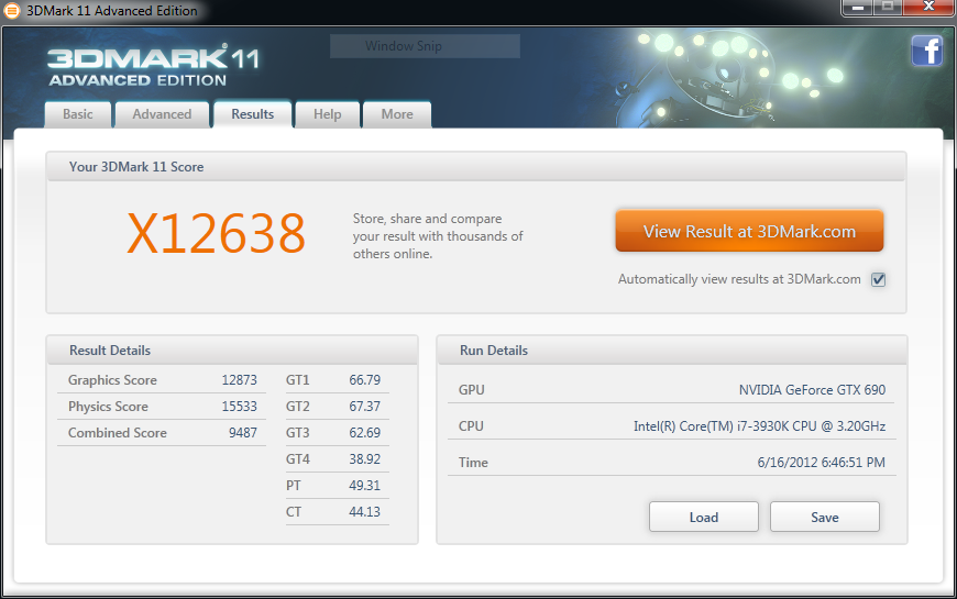 Figure 6:  Screenshot of 3D Mark 11 Score (X12638 3DMarks with NVIDIA GeForce GTX 690(4x) and Intel Core i7-3930K)
