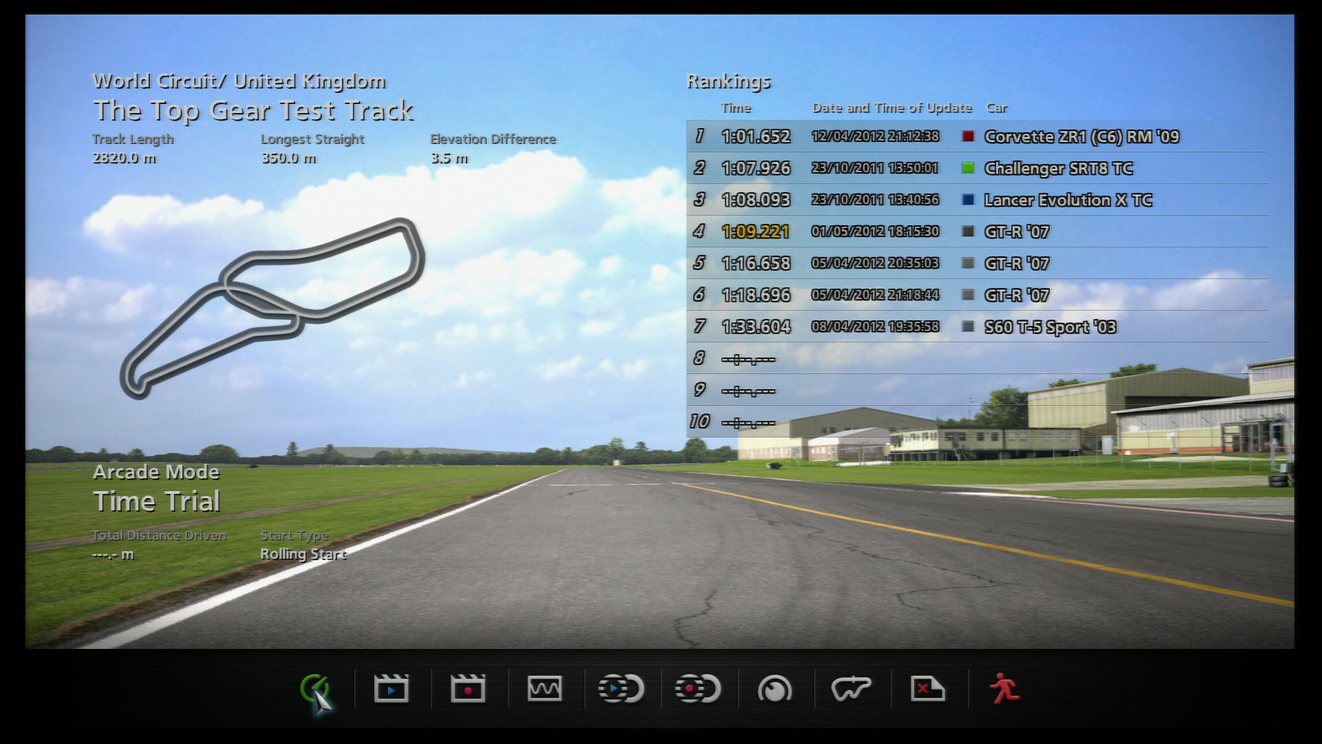 Game: GT5 Track: Top Gear Car: GT-R 07 Time: 1:09:221 Stock car with Racing Soft tyres. No driver aids