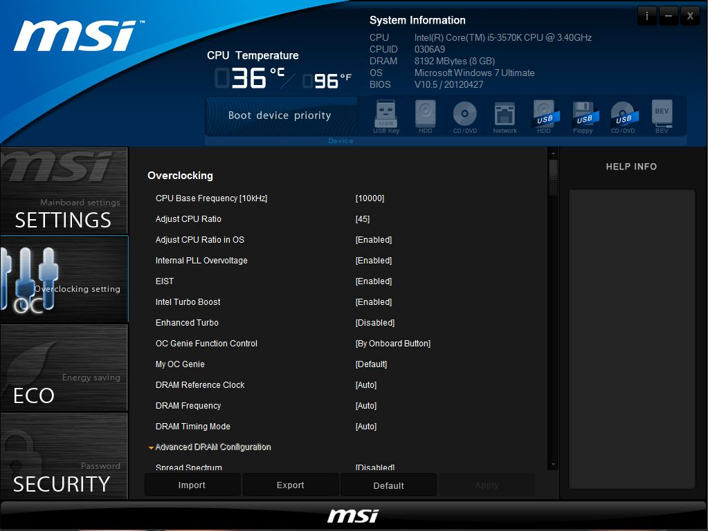 MSI Z77A-GD65 Overclock settings