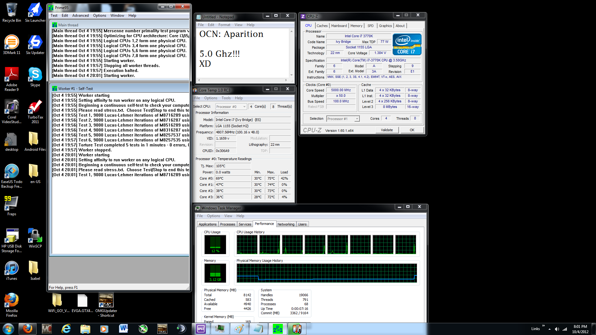 IT says 5 GIGAHEARTS Ivy 3770k  Lol :D
