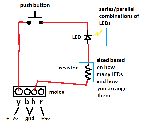 need help wiring a led to a push button switch overclock net an rh overclock net wiring a push button on/off switch wiring push button switch with led