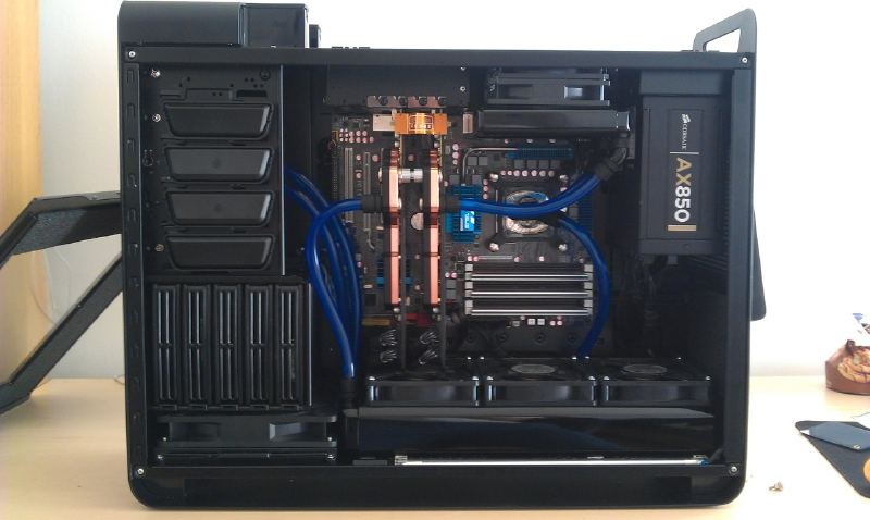 Second: Added the waterblocks for the video cards and got the Feser Blue tubing.