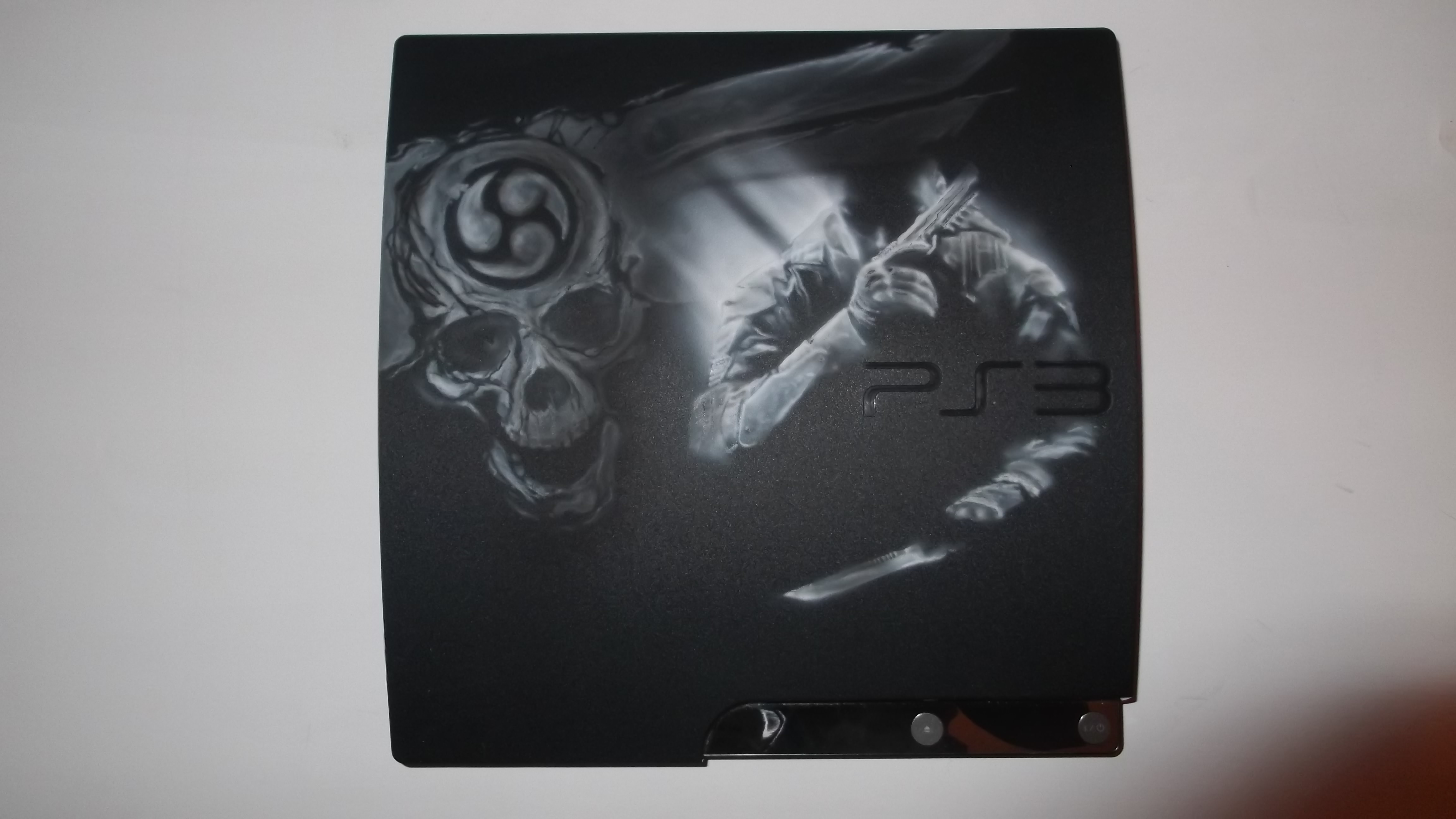 Hi There Made a custompaint on a Ps3:a the theme is Call of duty Black ops 2, i`m not so sure about the design/layout it didnt turn out the way i`d hoped with the logo, wanted it to be more transparent and just a glimt of it... perhaps a layer of coat brings more darkness and shade from the paint? However i think i overworked this piece and should bee settled with just the guy... http://www.youtube.com/watch?v=dpoZlYwKGOs