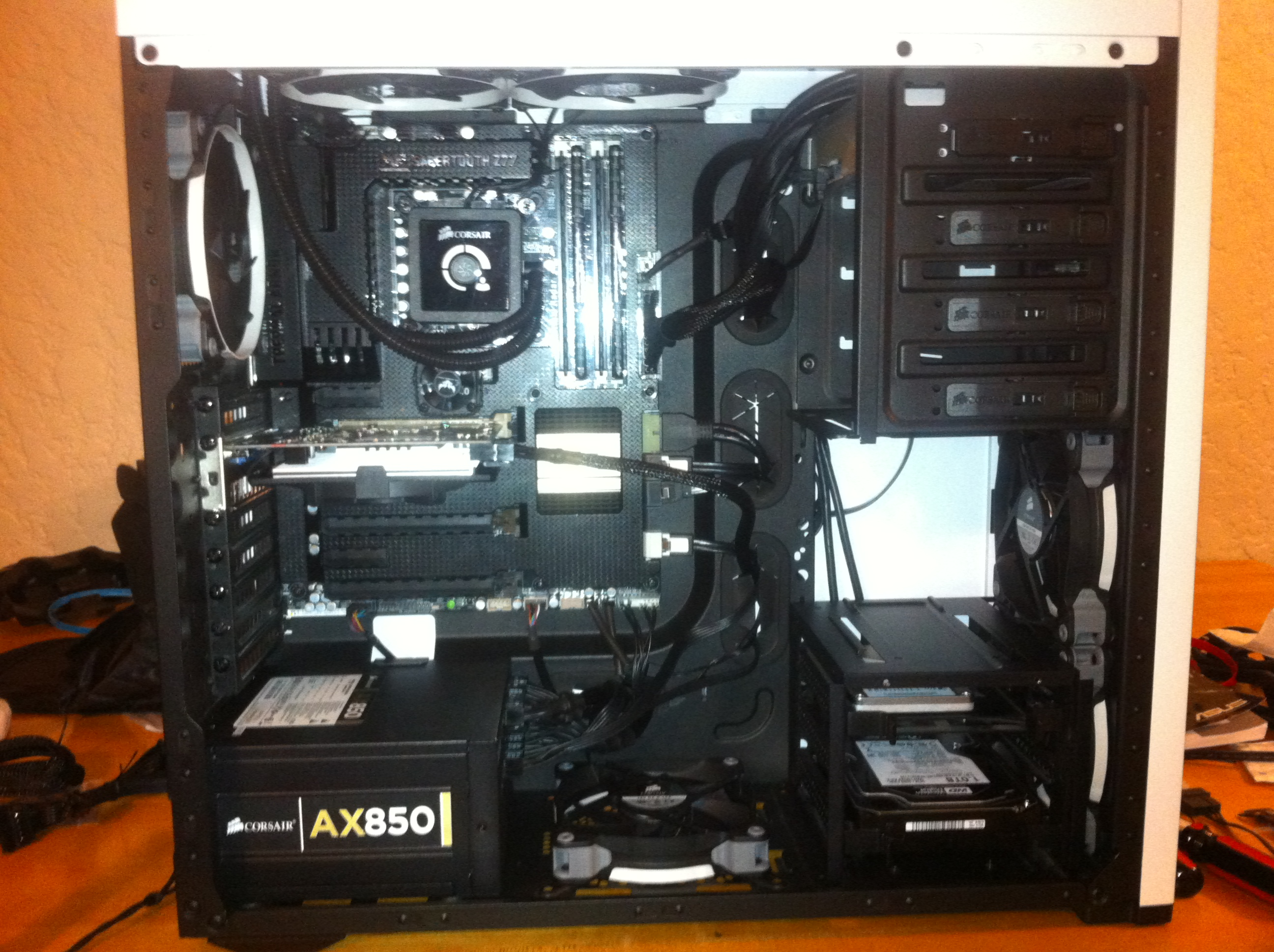 Raw build, with some cable management but no visual flair.
