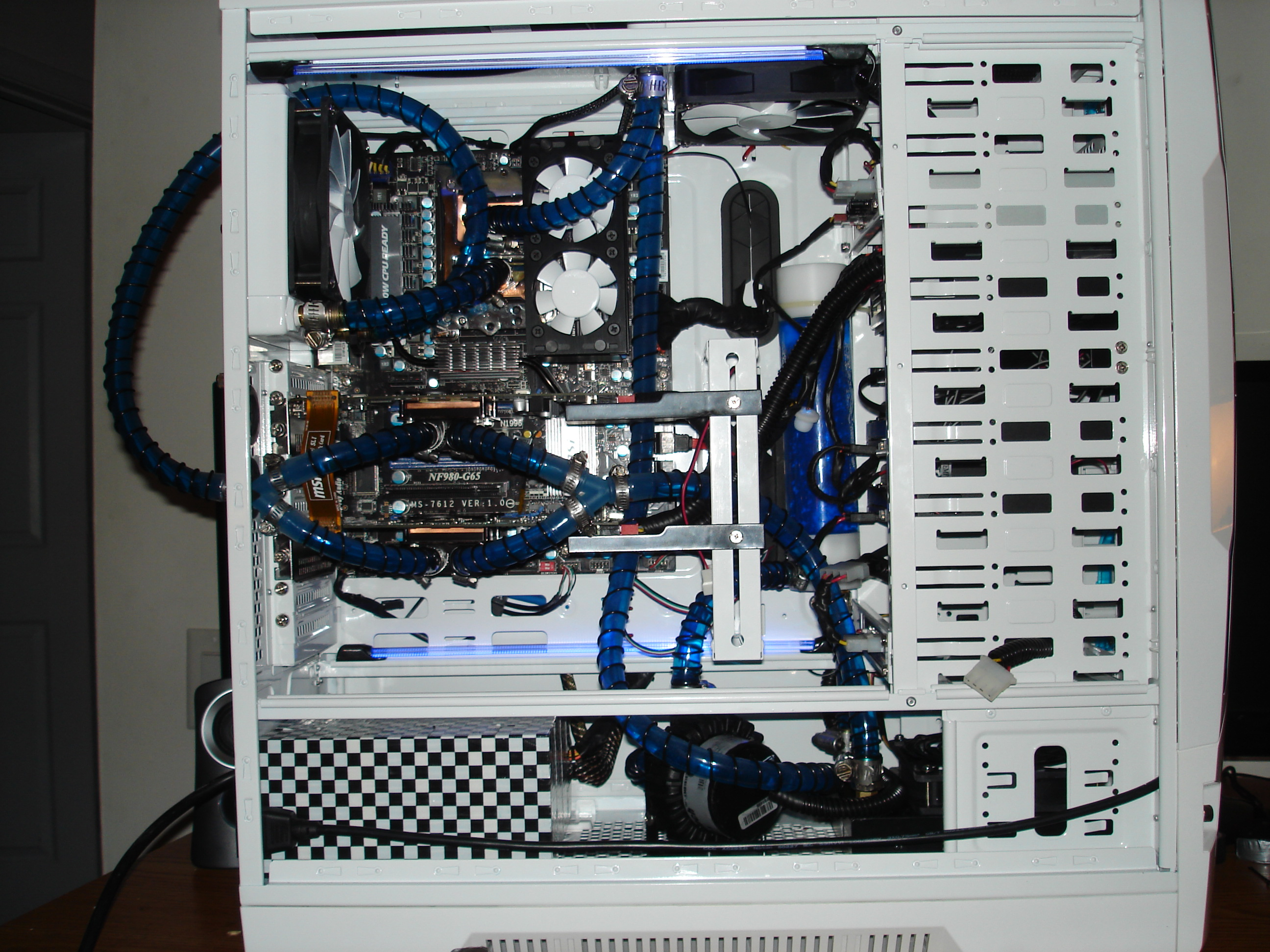 rebuilt water cooling system and a change to the color blue from red