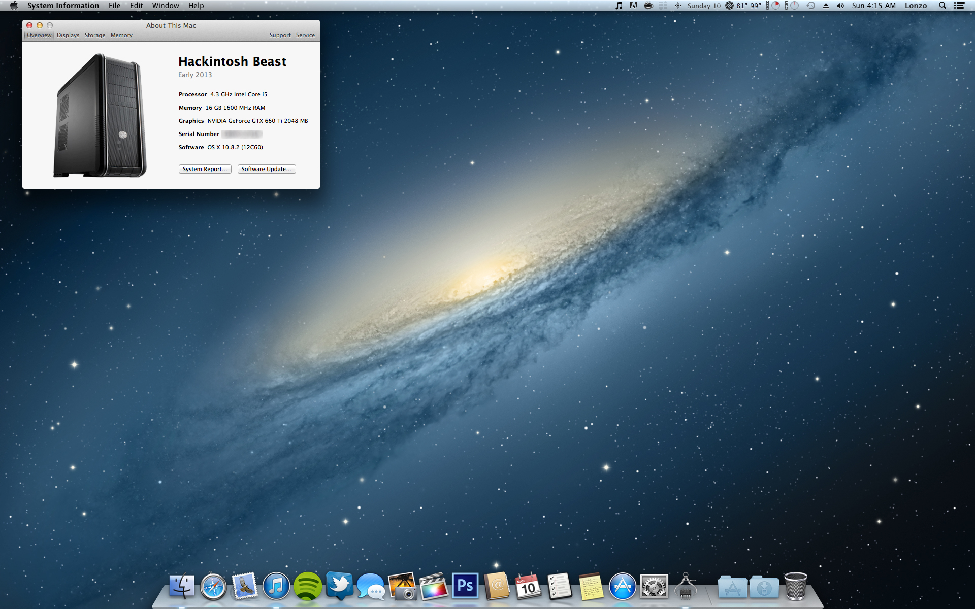Completed my Beast of a Hackintosh. 2 SSD's with one running Windows 7 and the other Mountain Lion/Hackintosh