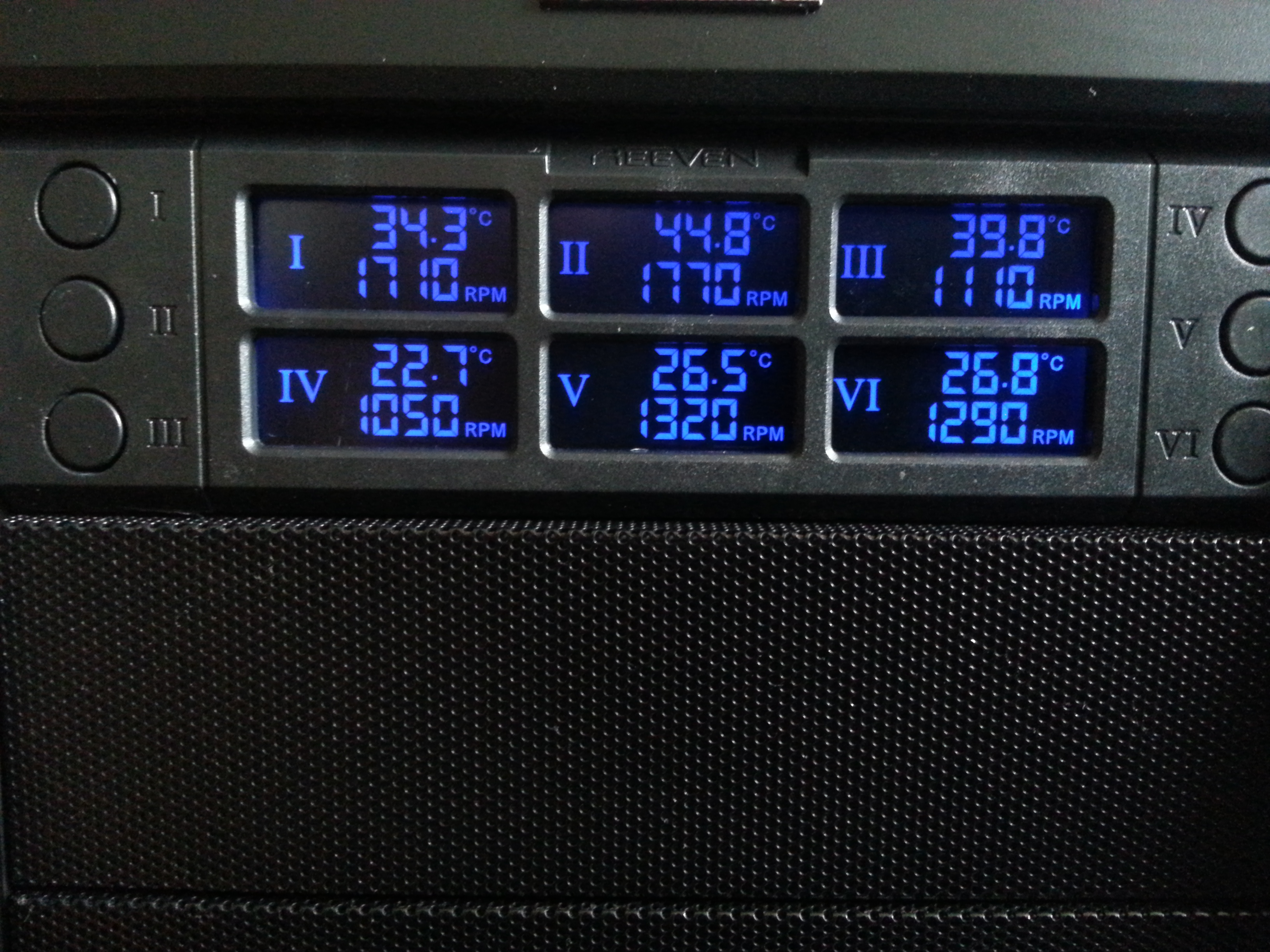 Provides a means for me to monitor all critical temperatures at a glance. CPU and GPU temperatures are controlled and monitored from several different software solutions to accomodate applications and game installations. The RFC-01 provides 6 independent 12w or 1a channels for fan controls with a functioning cut-off voltage of 3.7v allows me to finely tune my case vortex for the ideal positive pressure flow with the least amount of noise. I swear by this component, money well spent for future case migration.   Temperature Channel Deployment  I- Southbridge  temperature  II- Northbridge  temperature  III- MOSFETS  temperature  IV- Intake temperature (room 20.5°C) V- Exhaust temperature  VI- PSU temperature Reeven Six Eyes - http://www.reeven.com/rfc-01-fan-controller/