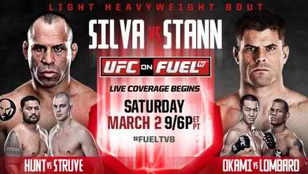 Watch UFC on Fuel TV: Silva vs. Stann Live Stream Online Free is an upcoming mixed martial arts event to be held by the Ultimate Fighting Championship on March 3, 2013 at the Saitama Super Arena in Saitama, Japan.  The main event is a light heavyweight bout between perrenial multidivisional contenders Wanderlei Silva and Brian Stann. Official fight card  Watch UFC on Fuel TV 8 Silva vs Stann Live Stream Online Free Here! http://ufcweekendstreaming.blogspot.com/2013/03/ufc-on-fuel-tv-8-silva-vs-stann-live.html  Watch UFC on Fuel TV: Silva vs. Stann Live Streaming Online Free is an upcoming mixed martial arts event to be held by the Ultimate Fighting Championship on March 3, 2013 at the Saitama Super Arena in Saitama, Japan. The main event is a light heavyweight bout between perrenial multidivisional contenders Wanderlei Silva and Brian Stann. Official fight card Watch UFC on Fuel TV 8 Silva vs Stann Live Stream Online Free Here! http://ufcweekendstreaming.blogspot.com/2013/03/ufc-on-fuel-tv-8-silva-vs-stann-live.html