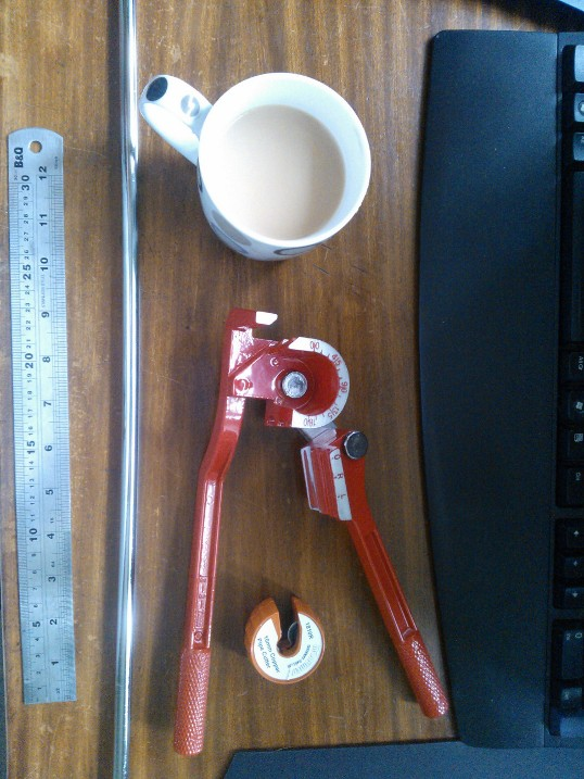 A Cup of Tea...mine was a milky number to get the juices flowing. A set of benders...these are for half-hard pipe but can be used for annealed. & Pipe bending 101 - Overclock.net - An Overclocking Community