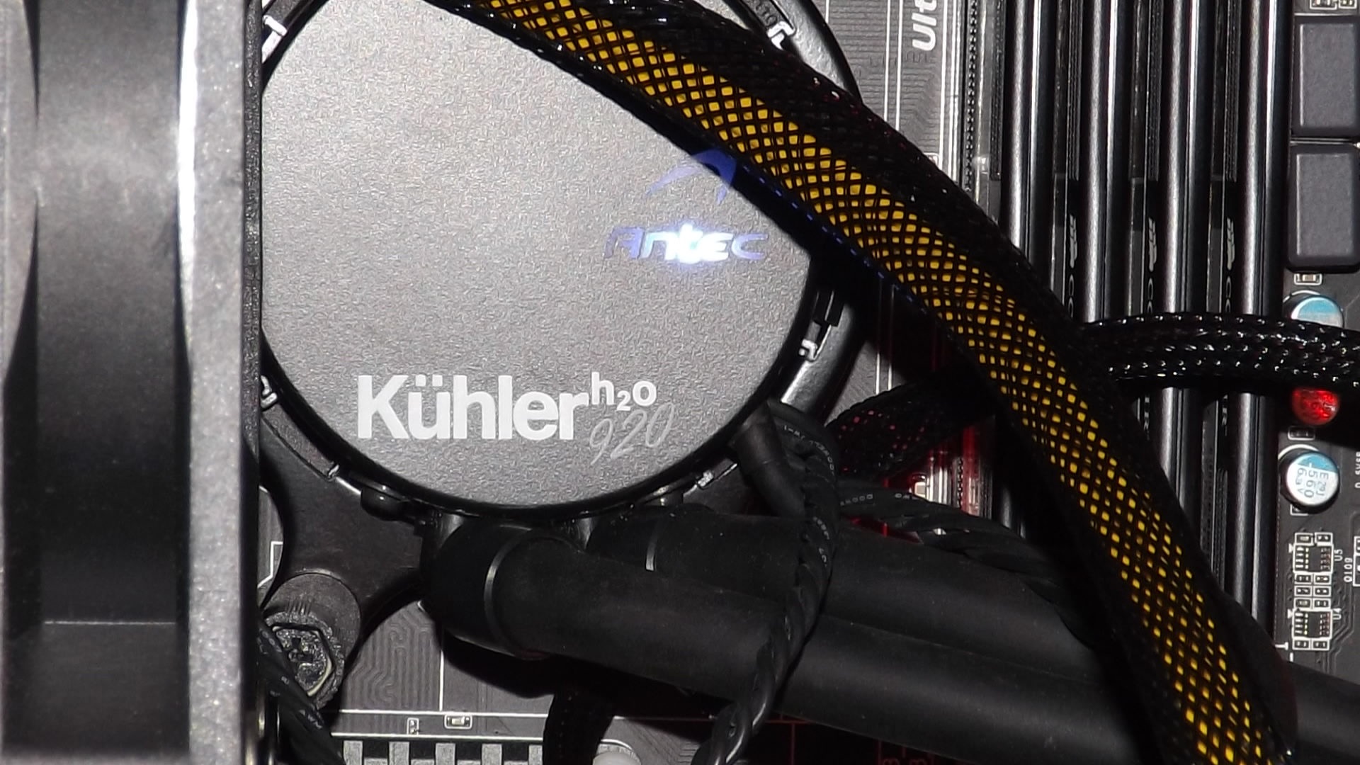 close up view of kuhler 920 water block, washed out from flash