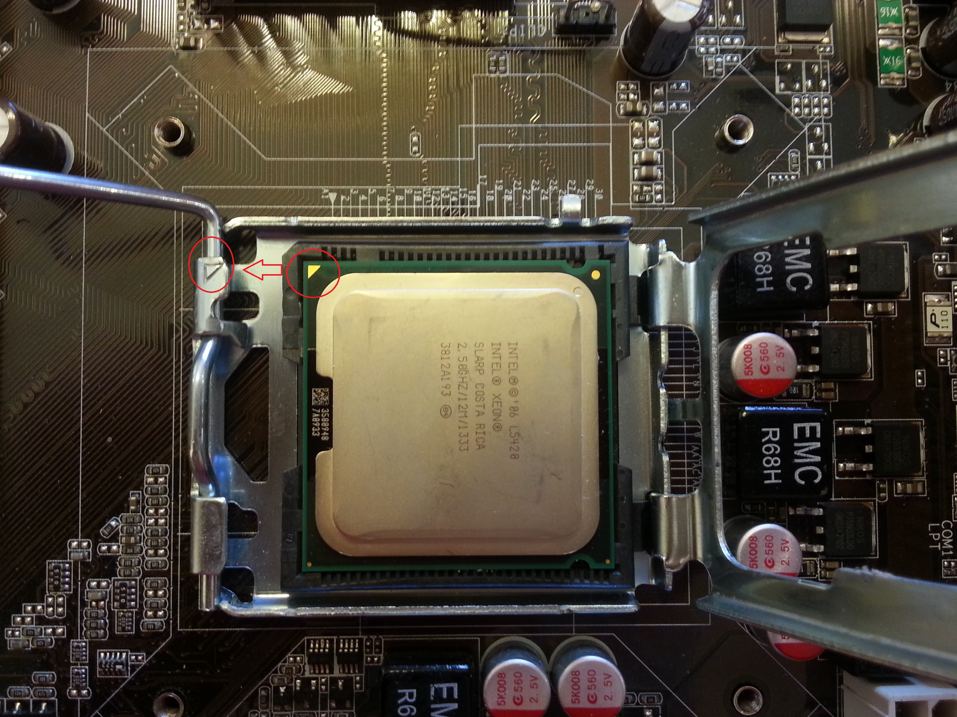Good News For The Lga775 Now 771 Is Available To Convert 775 Motherboard Lga G31 G33 Ddr2 Put Cpu In Slot Match Up Two Trianglethe Golden Triangle On And One At Same Side As Pics Show