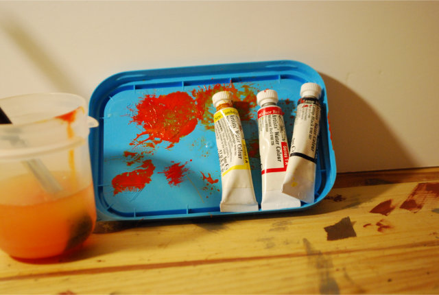 Acrylic paints to provide various shades of rust/orange