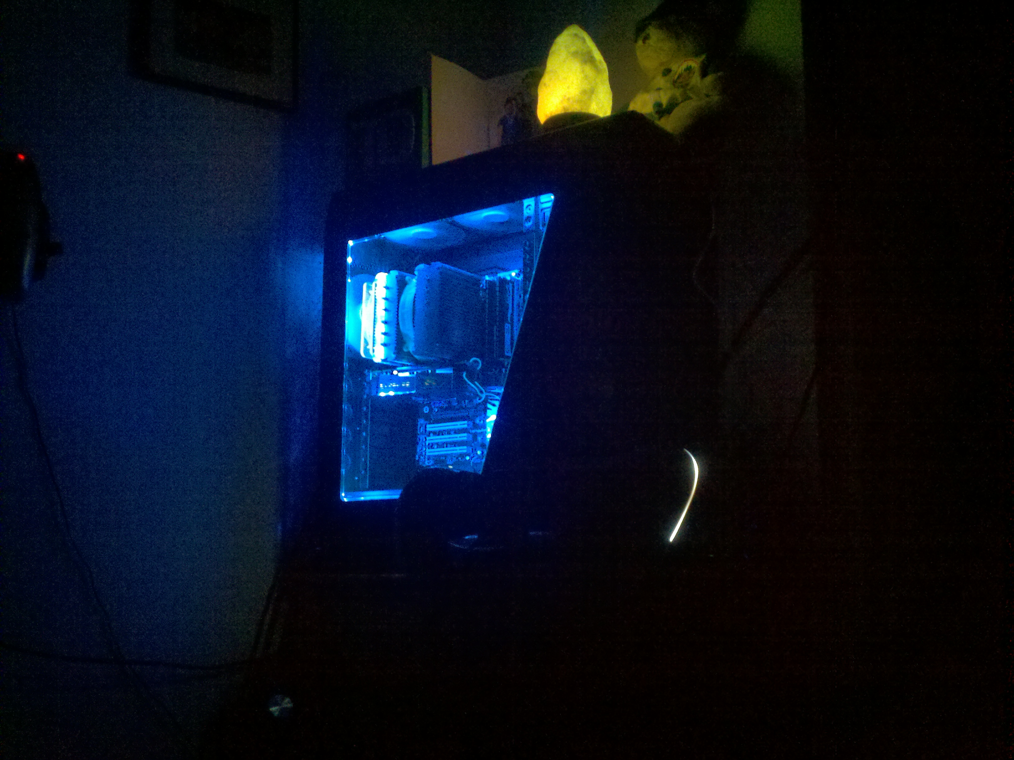 My new setup NZXT 810 with RGB led strip with remote to change colors. 3.8 w/ HT i7 870