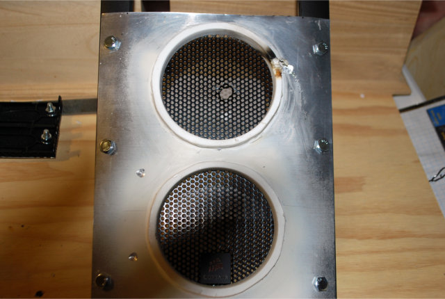 Speaker port mod completed, bolted to bezel ready for dials and painting
