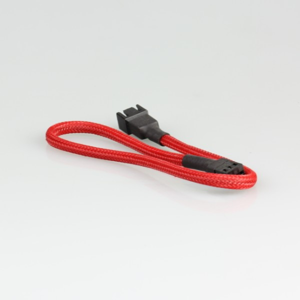 3pin Fan Female to Male extension power cable with Red Braided sleeving,L=30cm