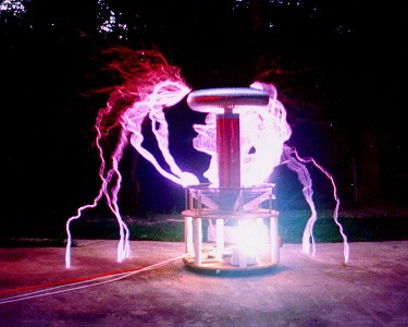 Tesla coil used to terminate problem electronics.