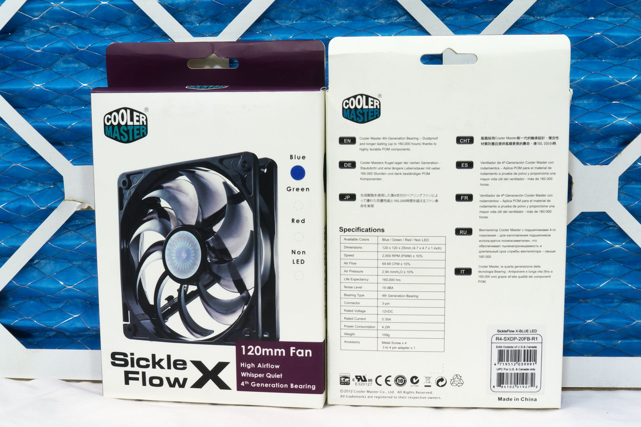 Cooler Master Sickle Flow X box from both sides. The box contains the fan and a 4-pin Molex adapter.