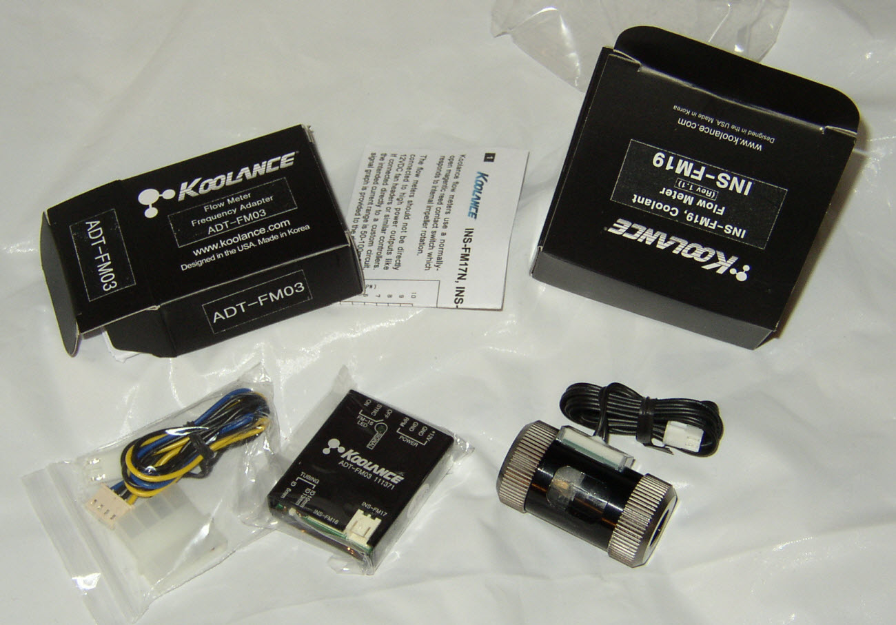 Koolance Flow Meter FM19 and FM03 adapter