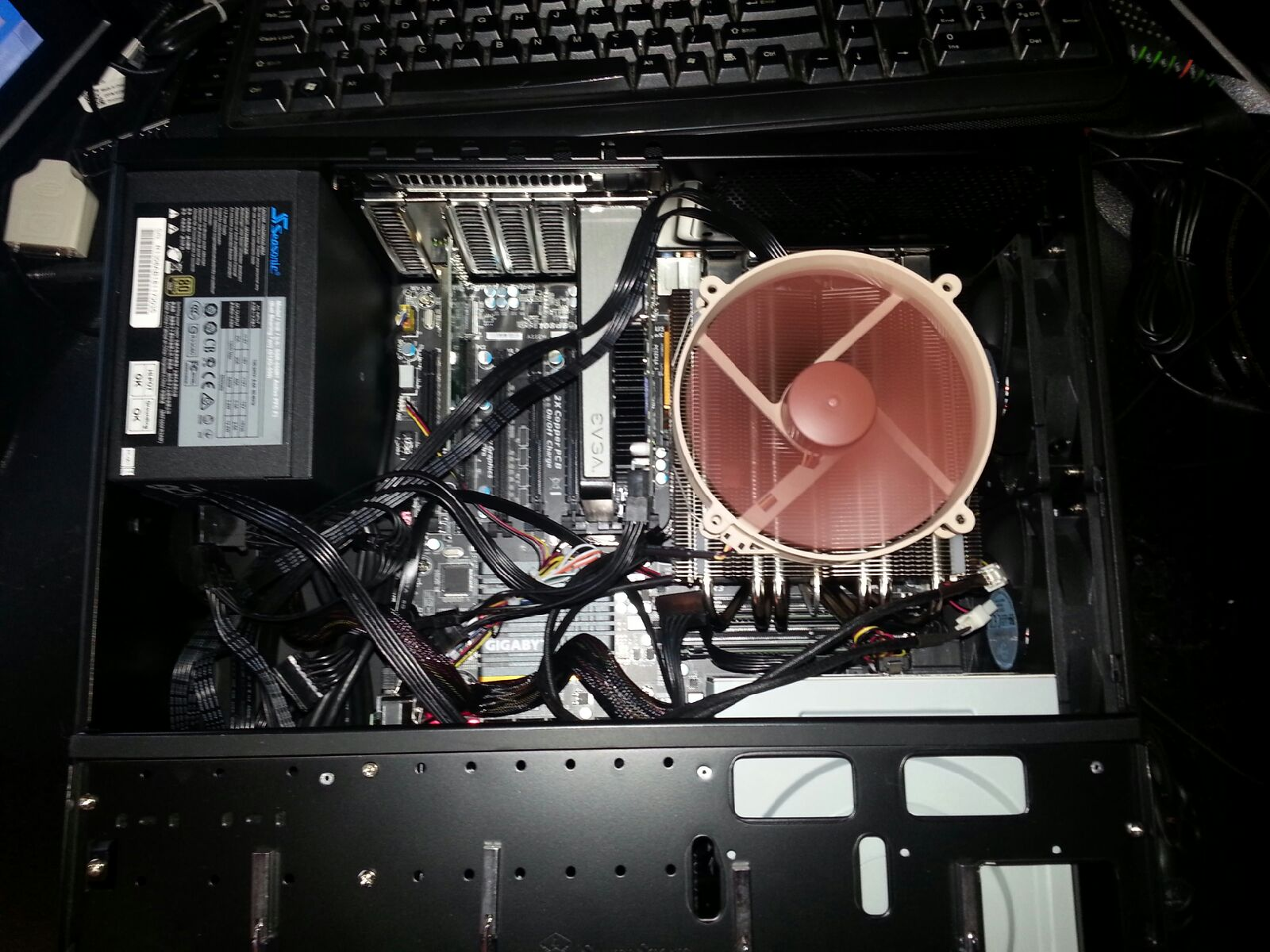 Media pc finished minus cable management........booted up to check fan orientation.