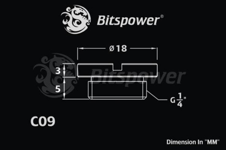 Bitspower Low Profile Stop Fitting Dimensions