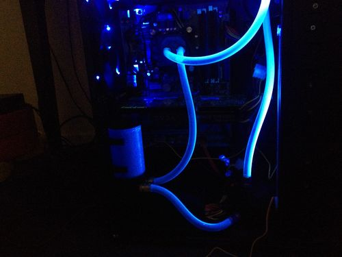 Finished view of liquid cooling loop for CPU installed (side panel off)
