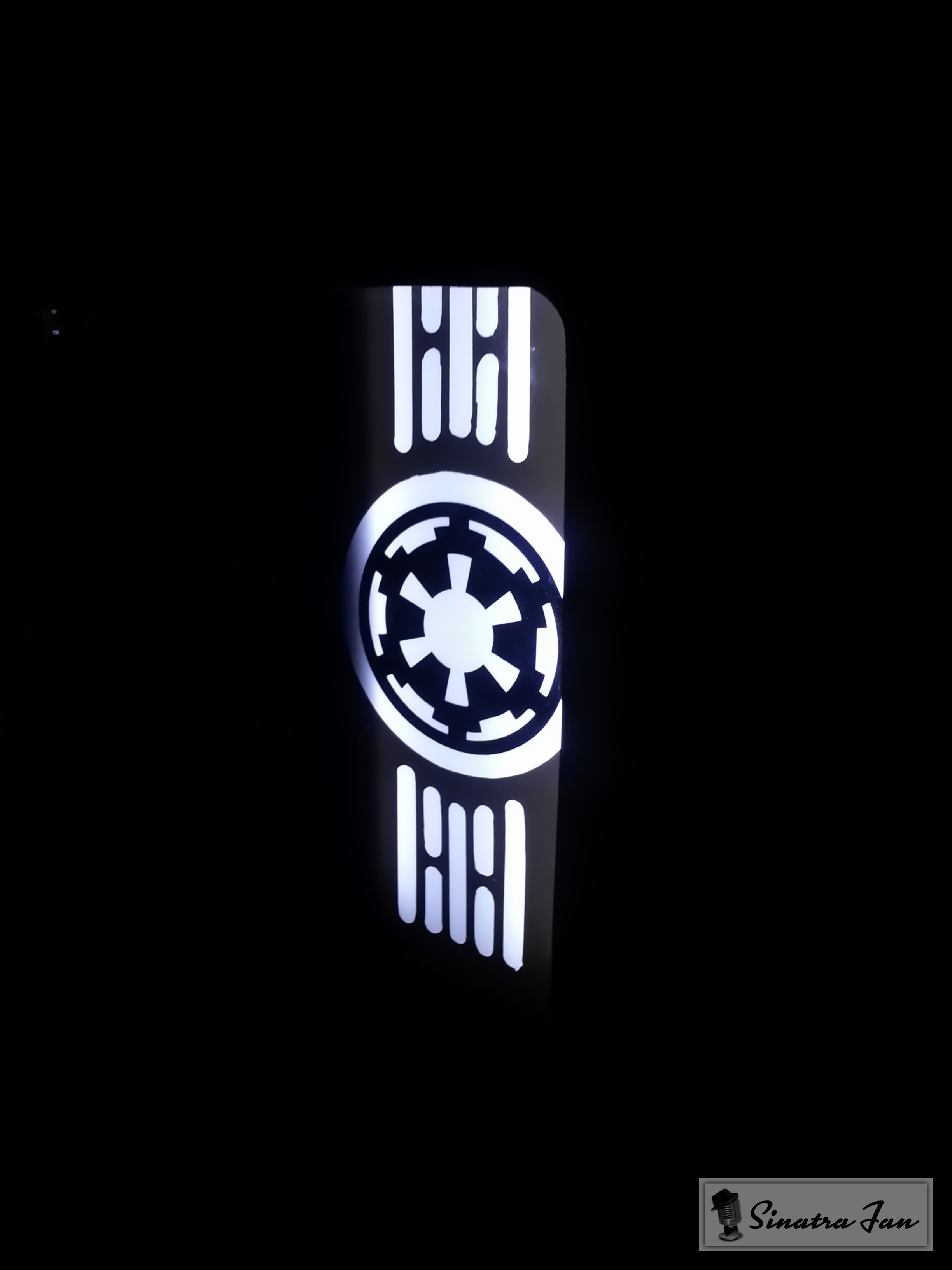 Build Log Project Death Star Haf X Cube 4930k Beast Page 39 Panel Dada C70 Simbol When Putting Light On The Logo Wall It Looks Good From Afar But I May Have To Redo Or Get Someone Laser Cut Vinyl