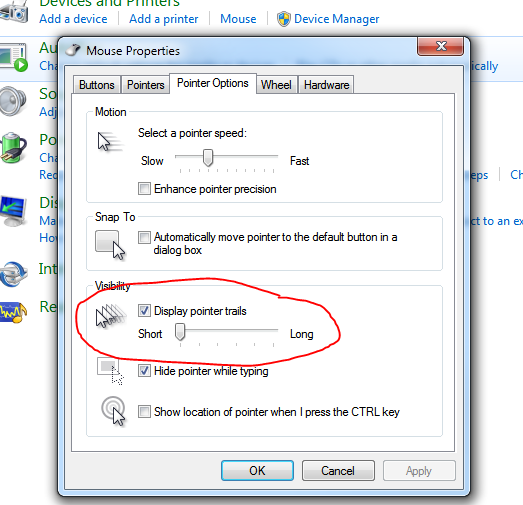 Windows mouse setting removed coil whine during mouse