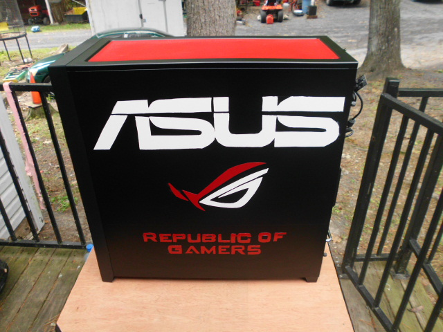 Painted ASUS and ROG LOGO Backside panel i think it come out good
