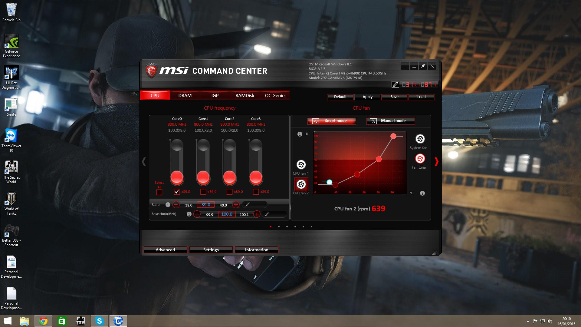 my msi z97 gaming 7 motherboard does not let me control my