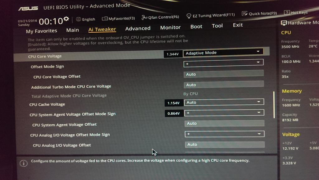 Applying adaptive voltage settings in Asus Z97-A - Overclock