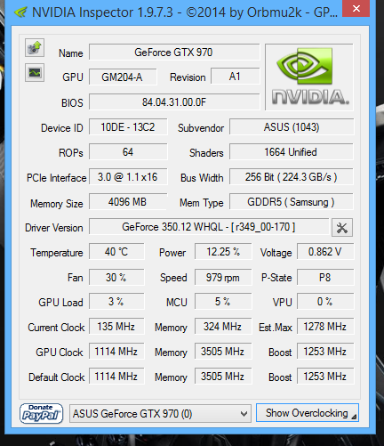 Lower memory clocks and locked P2 power state on the GTX 970