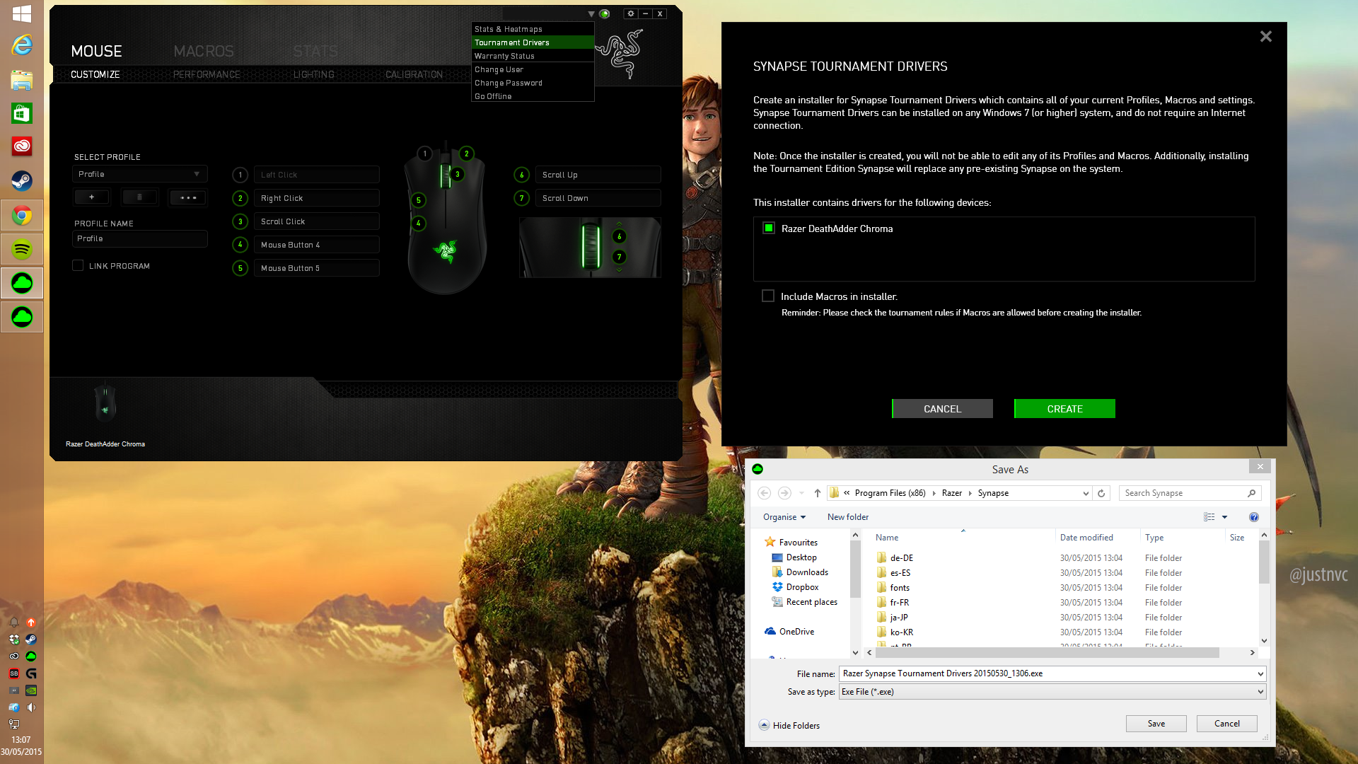 24432bea3af Razer Synapse Framework Bring your settings to offline tournaments with the  new Tournament Drivers! Simply create your own offline installer and bring  your ...