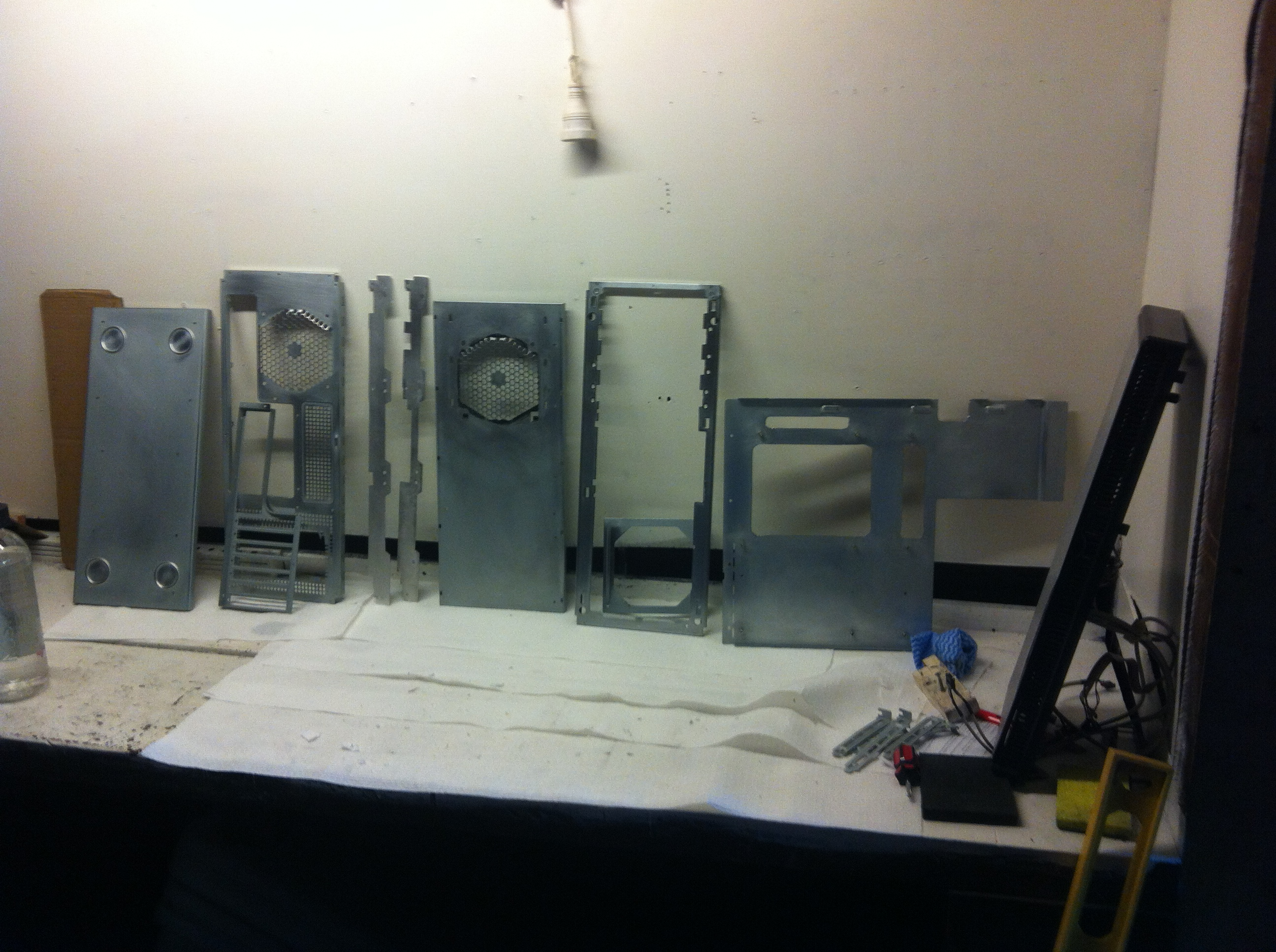 The individual panels cut, sanded back and ready for primer