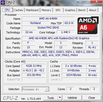 AMD A6 6400K Overclocked from 3.9 to 4,3