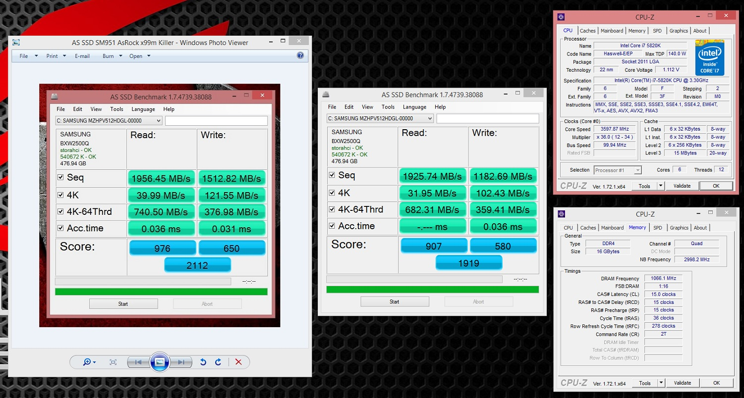 AS-SSD comparison of 512gb sm951 on Asrock x99m killer vs Rampage V Extreme