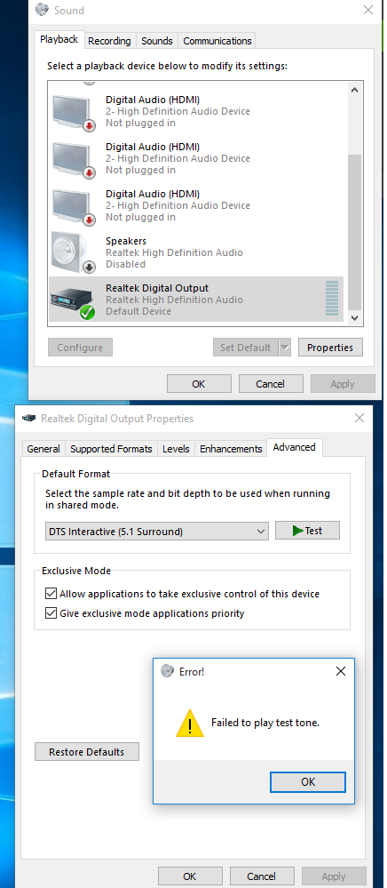 DTS connect incompatible with Windows 10 (verified by the