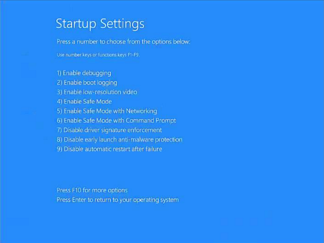 Windows 10 boot hanging and loads to startup settings screen