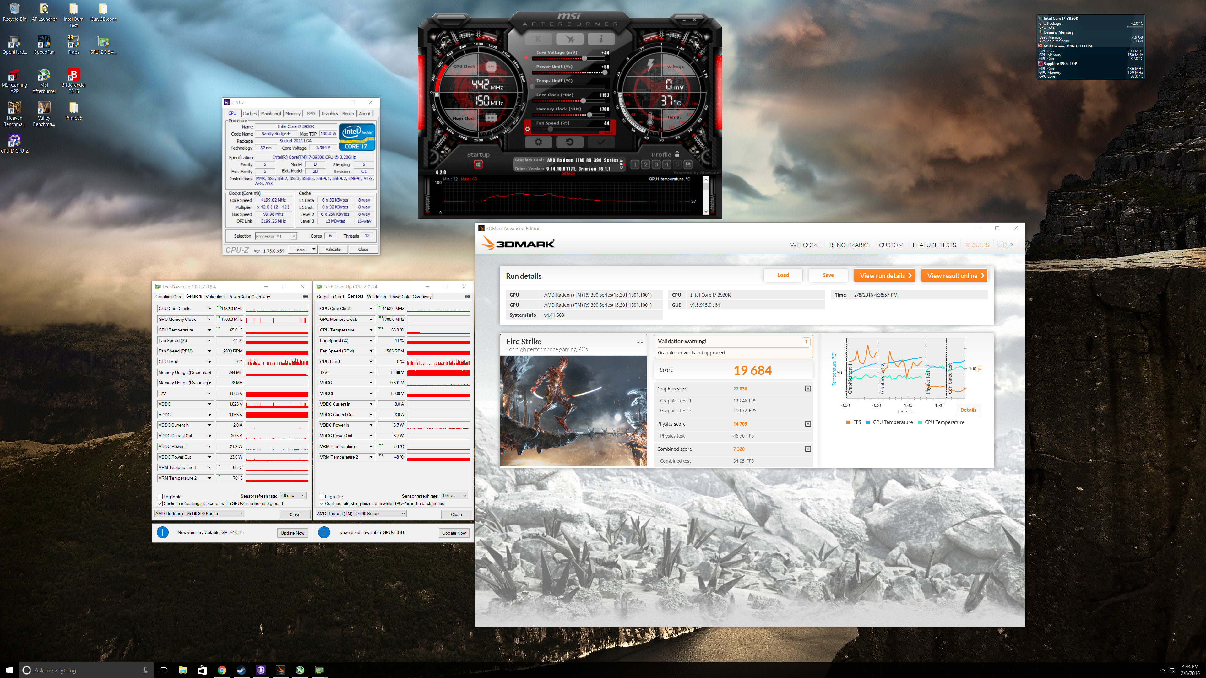 3930k at 4.2Ghz and 1.3 Vcore