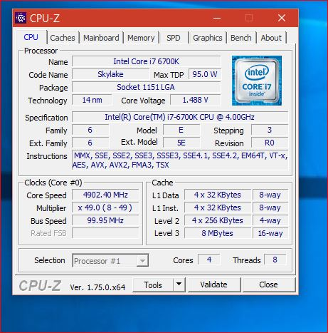 Silicon Lottery 6700K @ 4.9GHz