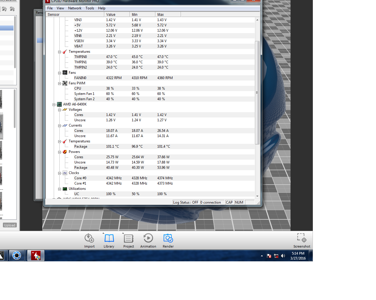 CPU temperature = 101 C and my rig is still running ok? is this the