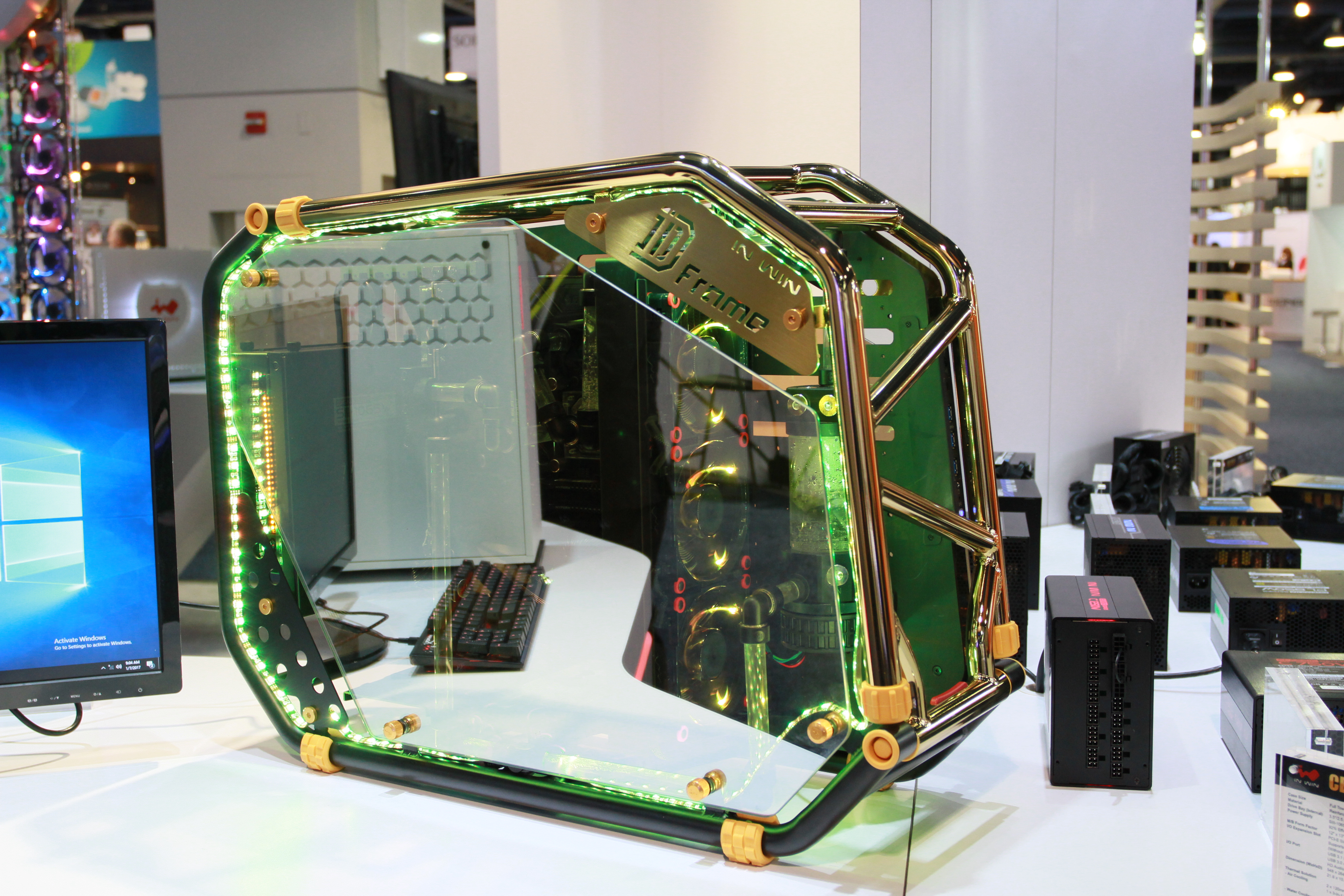 In Win booth at CES 2017 (303 Type-C, 301, D-Frame 2.0 EKWB Edition ...